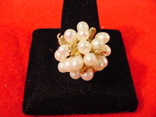 14k Yellow Gold Cocktail Ring Cluster Of 19 Fresh Water Pearls Size 10.5