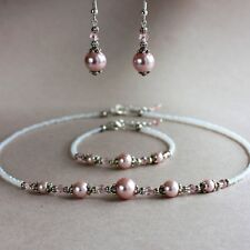Pink blush pearls collar necklace bracelet earrings silver wedding bridal set