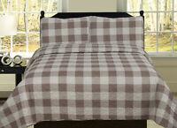 Buffalo Check Plaid Stripe Checkered Quilt Bedding Set, Tan and White