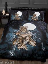 Alchemy gothic emo crânes loup-garou chauves-souris chaînes noir lit simple housse de couette
