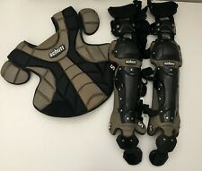 "Schutt Scorpion 16"" Double Flex Catcher Gear Leg Guards & Chest Protector Black"
