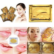 5 Gold 24k Bio-collagen Facial Mask +5 Gold Lip Mask +5 Gold Eye Pad (15 PCS Lot