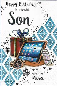 "SON BIRTHDAY GREETING CARD 9""X6"" TRADITIONAL NICE VERSE FREE P&P"