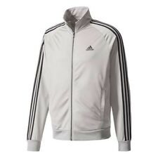 NEW ADIDAS MEN'S ESSENTIALS 3 STRIPES TRICOT TRACK JACKET~  LARGE  #BS2226 GREY
