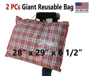 Reusable Large Jumbo plastic Laundry Bag/ Big Storage Bag Zip/ Giant Bag 2 PCs