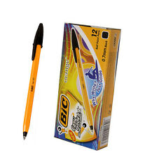 [BIC]Black Orange Fine 0.7mm Ball Point Pen Easy Glide Ink / 1Box=12pcs / New