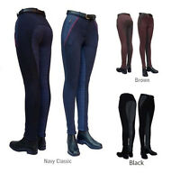 ladies check contoured seat horse riding jodhpurs navy, black, or brown