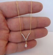 V- SHAPE NECKLACE PENDANT W/ LAB DIAMONDS & PEARLS/ 925 STERLING SILVER /18''