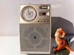 Sony TRW-621 Radio 6 Transistor Super AM Portable Poket clock SEIKO Gold 1960