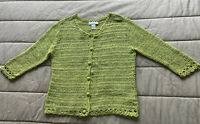 Doncaster Size M Lime Green Button Front Cardigan Sweater Women's 3/4 Sleeve