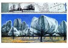 CHRISTO WRAPPED Trees n. VI Riehen poster stampa d'arte immagine 70x100cm-porto franco