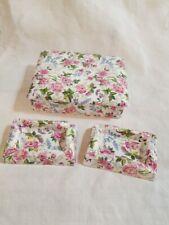 Vintage Rosina Fine Bone China Floral Chintz Covered Box with 2 Ashtrays England