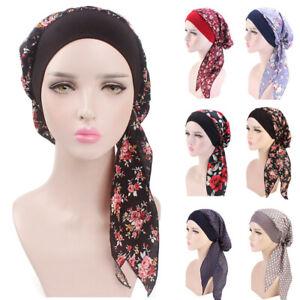 Elastic Women Cotton Head Scarf Cap Knot Turban Headband Bonnet Headwrap Printed