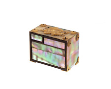 An Antique Japanese Miniature Mother Of Pearl Decorated Lacquered Tansu Okimono