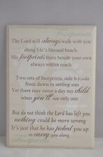 Plaque Footprints in The Sand The Lord Will Always Wooden Cream 25cm F1261