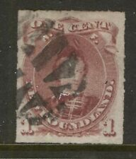 NEWFOUNDLAND 37 1877 1c BROWN LILAC ROULETTE PRINCE OF WALES USED VF CV$70