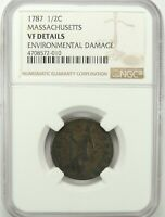 1787 MASSACHUSETTS COLONIAL COPPER HALF CENT (1/2) - NGC VF DETAILS #4708572-010