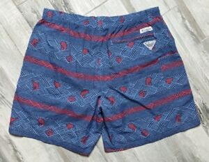 Columbia PFG Fishing Shorts Men's size 2XL Blue Geometric Fish Print