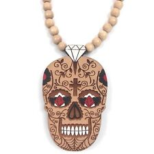 Rare Good Wood NYC Dia De Los Muertos Necklace Natural Wood Beaded Streetwear