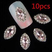 10pcs Nail Art 3D Glitter Rhinestone Rose Bud Manicure DIY Decoration Jewelry hs