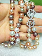 """2 row AAAAA 38""""10-11mm South sea white pink purple multicolor pearl necklace"""