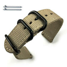Khaki Nylon Watch Band Strap Belt Army Military Ballistic Black Buckle #6040