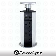 """Pop-Up """"Power Pod"""" con 1x RJ45 Cat 6 Puerto, 2x Usb Cargadores Y 3x Reino Unido zócalos"""