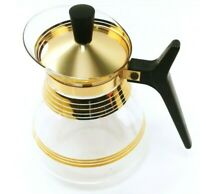 Vtg Inland Glass Carafe Coffee Pot Tot Syrup Pitcher Gold Stripes Vintage MCM
