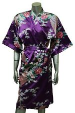 Women Kimono Silk Satin Bath Robe Pajamas Sleepwear Peacock Purple Violet New FS