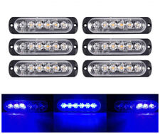 6x Blue 6 LED Car Truck Emergency Beacon Warning Hazard Flash Strobe Light Bar