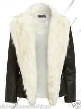 NEW Faux Fur BIKER JACKET Womens FAUX LEATHER Coat Ladies Size 8 10 12 14 16