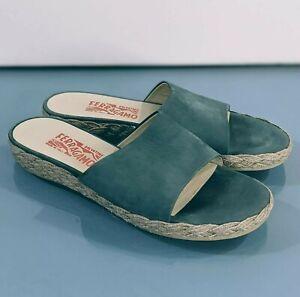 Vtg FERRAGAMO Women's Sz 7 Blue Suede Espadrilles Slides Sandals Slippers Shoes