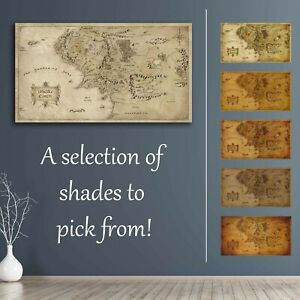 Middle Earth Map Lord of the Rings The Hobbit Canvas Wall Art Gift Home Decor