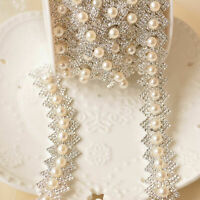 Pearl Rhinestone Trims Crystal Diamante Sash Chain Bridal Dress Belt