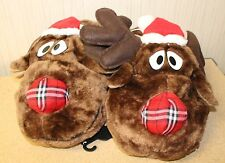 NEW WOMENS SIZE MEDIUM 7/8 CHRISTMAS REINDEER W SANTA HAT HOUSE SLIPPERS SO CUTE