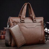 Men's Genuine Leather Business Briefcase Messenger Handbag Laptop Shoulder Bag