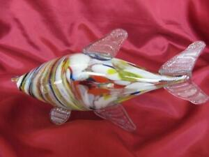 VINTAGE ITALIAN MURANO COLOR CRYSTAL GLASS DECORATIVE FISH FIGURINE