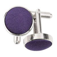 Cadbury Purple Cufflinks Plain Shantung Fabric Inlay Wedding Cuff Links by DQT