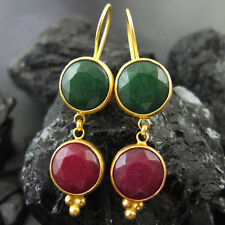 Turkish Ancient Handmade Ruby & Emerald Dungle Earring 925K Sterling Silver