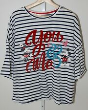 DISNEY Parks Womens Mickey Minnie Mouse Shirt You Me Striped Top 3/4 Sleeve L
