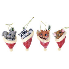 Resin Vintage Animal Christmas Ornaments, Assorted, 3-1/2-Inch, 4-Piece