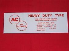 1952 - 1955 Cadillac AC Oil Bath Air Cleaner Decal