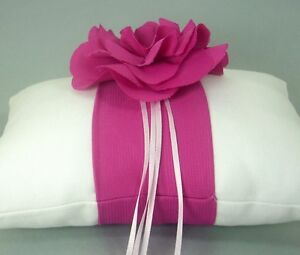Hot Fuchsia Pink and White Floral Cotton Ring Bearer Pillow, Cotton, Handmade