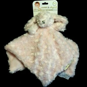 NWT Blankets & Beyond Pink Bunny Security Blanket Swirl Rosette Nunu Lovey Toy
