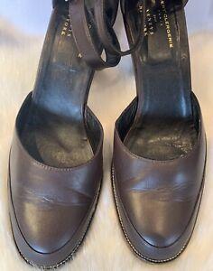 Robert Clergerie Paris designers Brown Real leather Block Heel sandals Uk8(41)D