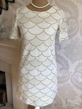 RIVER ISLAND LADIES SIZE 10 UK TUNIC SHIRT DRESS, CREAM AND GOLD MIX