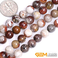 "Natural Mexico Crazy Lace Agate Gemstone Round Beads For Jewelry Making 15"" YB"