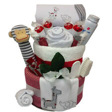 New Born Baby Deluxe Cheeky Monkey Gift Nappy Cake Unisex