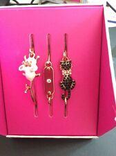 $35 Betsey Johnson Gold Tone 3 Piece Cat & Mouse Wire Bangle Bracelet BN1 B