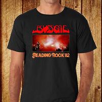 New Budgie *Reading Rock 82 Hard Rock Band Men's Black T-Shirt Size S-3XL